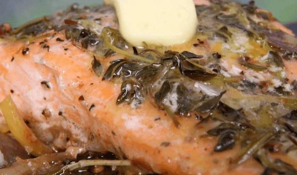 salmon en el microondas